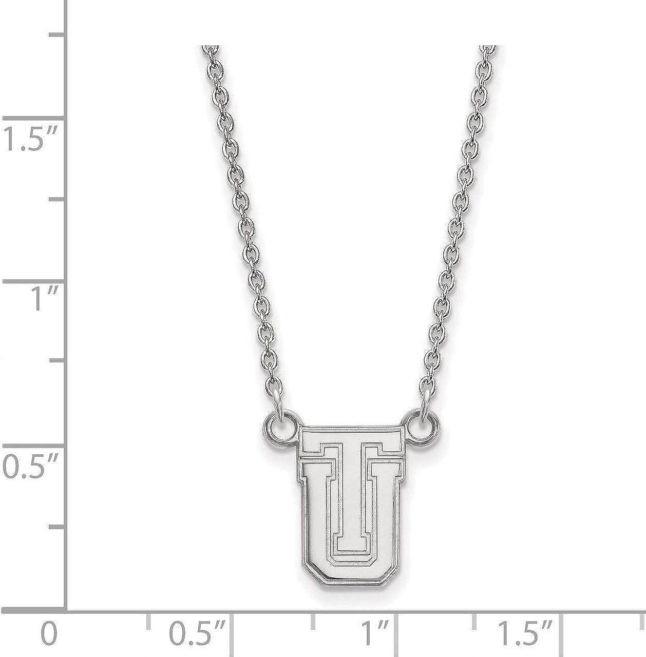 Lex /& Lu LogoArt 10k White Gold The University of Tulsa Small Pendant w//Necklace