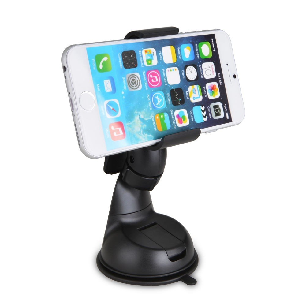 360 Degree Rotating Universal Car Mount Bracket Holder for Samsung Galaxy S5 I9600 and Others , Hands Free In Car Accessories Adjustable GPS Saver, Black