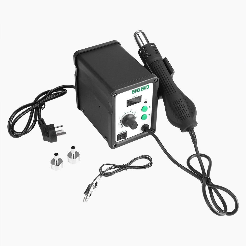Station Soudage Dessoudage Air Chaud Digital avec Pistolet Souffleur Inclus Téléphone portable Réparation Outils Reprise d'affichage à LED SMD de 700W H858D équipement avec ventilateur sans brosse Fdit