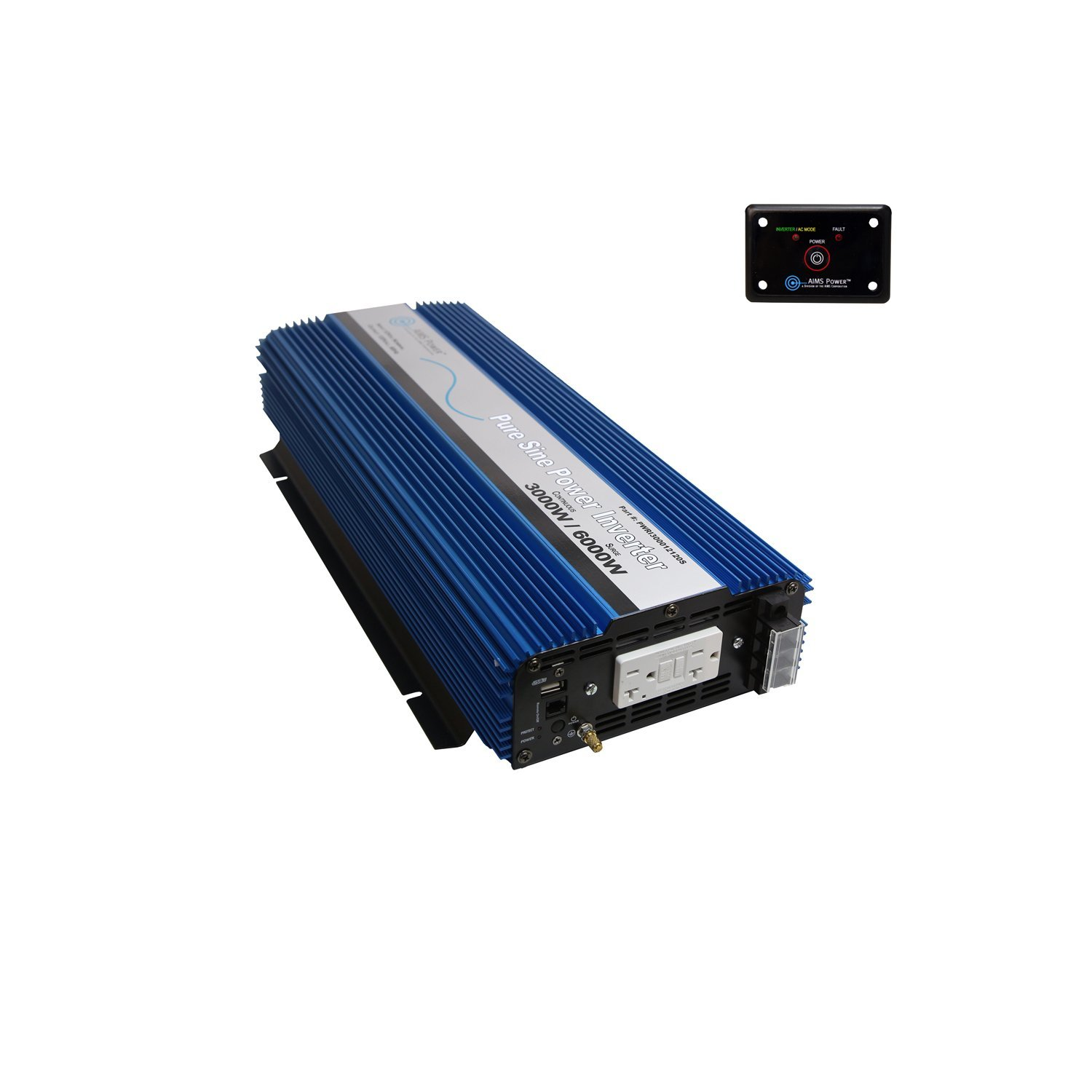 AIMS PWRI300012120S 3000 Watt 12V Pure Sine Wave Power Inverter Bundle with Inverter and Remote Switch (2 Items)