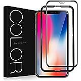 G-Color iPhone X/iPhone XS 用 強化ガラス液晶保護フィルム 3Dラウンドエッジ加工 透明ケース付き 光沢 iPhoneX/XS 対応 5.8インチ (黒)