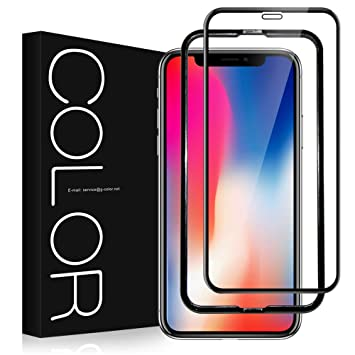 9ac00b0ea1 Amazon | G-Color iPhone X/iPhone XS 用 強化ガラス液晶保護フィルム 3D ...