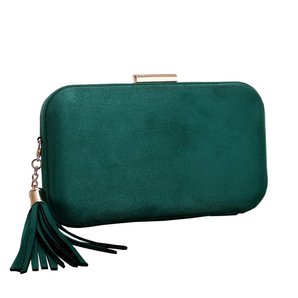 Emerald missfiona Womens Velvet Evening Hardbox Clutch Tassel Drop Party Shoulder Bag Purse