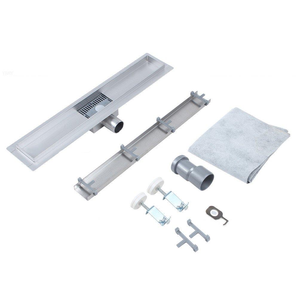 filtra i capelli canale lavandino in acciaio inossidabile rettangolare in acciaio inossidabile Claking Tubo di scarico da pavimento bagno 50cm sifone da pavimento per doccia per cucina