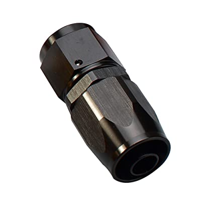 8AN Black Straight Female to -8 AN Aluminum Swivel Hose End Oil Fuel Fitting Connector, AN8 3/4-16 Thread Reusable Equal Tubing Adaptor: Automotive