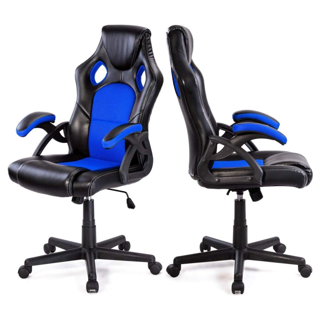 Modern Style High Back Racing Style Gaming Chairs Thick Padded Seat PU Leather Upholstery Adjustable Reclining Tilt Home School Office Furniture - Set of 4 Blue #2126 by KLS14
