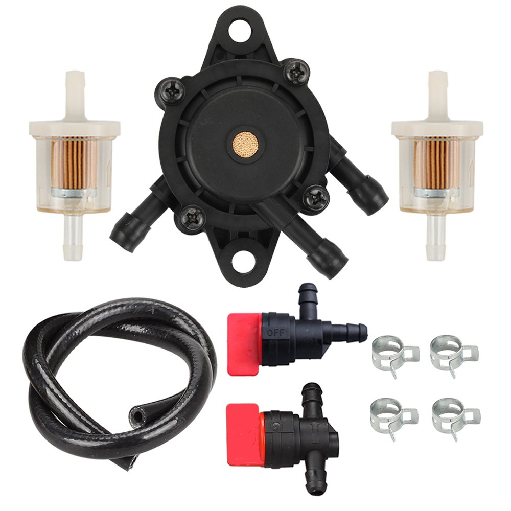 HIPA 808656 Fuel Pump 691035 Fuel Filter 494768 Shut-Off Valve for Briggs and Stratton 808656 691034 692313 808492 Lawn Mower