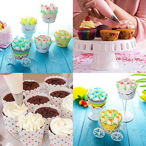 Russian Piping Tips Set - 53 pcs Cake Decorating Tips For cake, Muffins and Ice Cream Decoration Including 15 Unique Design Icing Piping Tips, 4 Couplers, 32 Bags with Gift Box for Mother's Day by Face Forever (Image #4)'