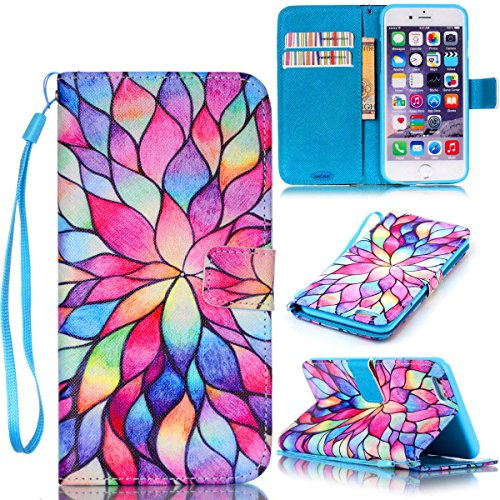 iPhone 6S Case,iPhone 6 Case,JanCalm [Wrist Strap Design][Kickstand] Pattern Premium PU Leather Wallet Cell Phone Case [Card/Cash Slots] Flip Cover for iPhone 6S/iPhone 6 + Crystal pen (Water - 6 Iphone Ombre Color Case