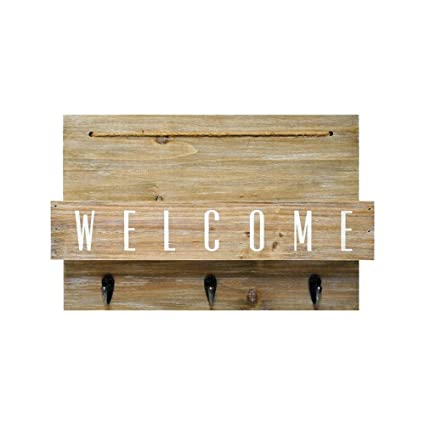 Genial New View Wood Welcome Mail Station With Hooks   10 X15 606683115569