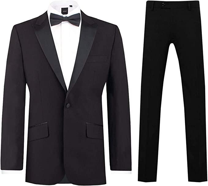 1920s Men's Fashion UK | Peaky Blinders Clothing Dobell Mens Black 2 Piece Tuxedo Slim Fit Peak Lapel Evening Dinner Suit £99.99 AT vintagedancer.com