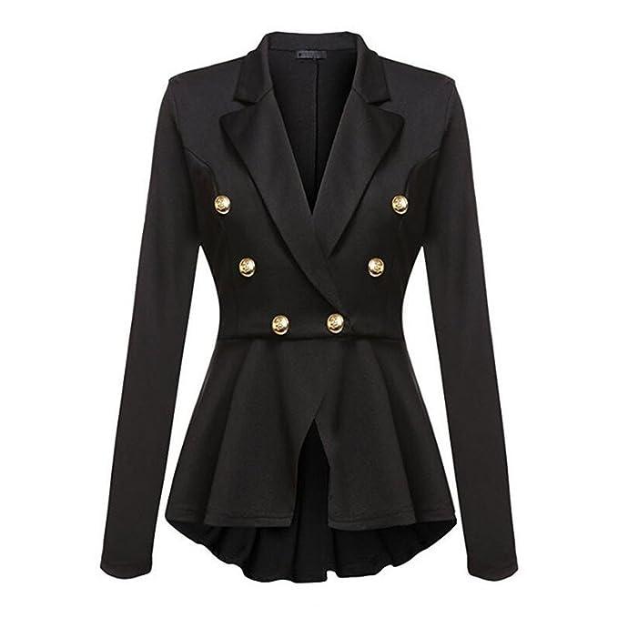 Amazon.com: shining4u Coat Negro Rojo de Mujer Elegante ...