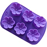 JLHua 6 Cavity Mini Flower Silicone Cake Mold Pan