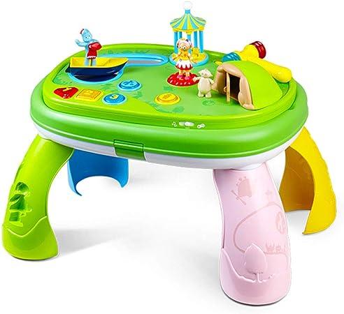 Cajas de música Mesa interactiva para padres e hijos Juguetes de educación temprana para niños Juguetes educativos multifuncionales Mesa de juegos de música bilingüe Mesa de estudio de juguetes para b: Amazon.es: