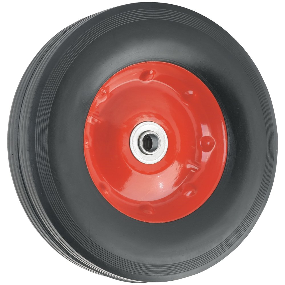 Replacement Wheel with Symmetrical Steel Hub  - 10-Inchx2-3/4-Inch -  Ribbed, 100 lb. Load Capacity  -  For use on Wheelbarrows, Wagons, Carts, & Many Other Products