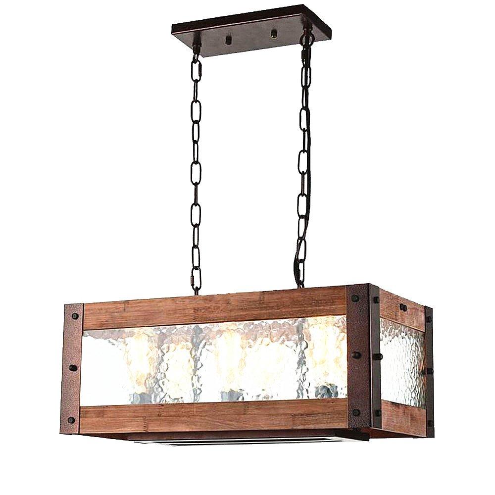 Baiwaiz Rustic Kitchen Island Light, 6-Light Square Metal and Wood Dining Room Light Fixture with Water Glass Panels Farmhouse Pendant Lighting Adjustable Bronze Rust Finish Edison E26 BW17029