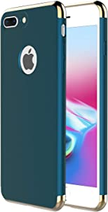 """iPhone 8 Plus Case,iPhone 7 Plus,RORSOU 3 in 1 Ultra Thin and Slim Hard Case Coated Non Slip Matte Surface with Electroplate Frame for Apple iPhone 7/8 Plus (5.5"""") - Dark Green"""