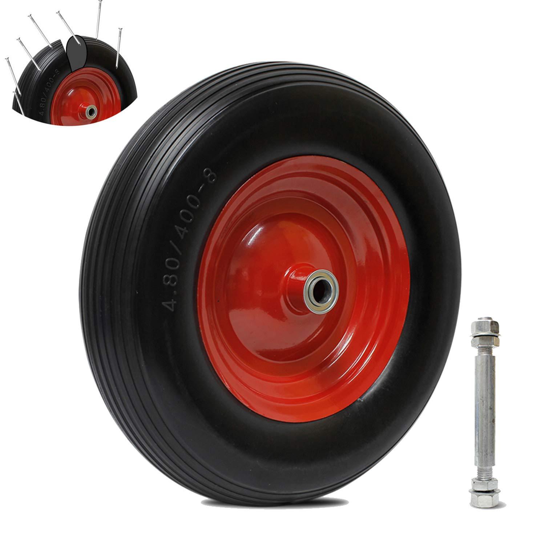 Everbest4u Roues en caoutchouc, Roue de brouette 390 mm,4.00-8 pneus anti-crevaison,Landau Pneu en caoutchouc Roue