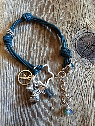 Leather Charm Bracelet/07 Peacock Blue - Silver Yoga Charm, Silver Tibetan Prayer Bell Charm, Silver Star Charm - Peacock Blue and AB Austrian Crystal Beads - Brushed Silver Star ()
