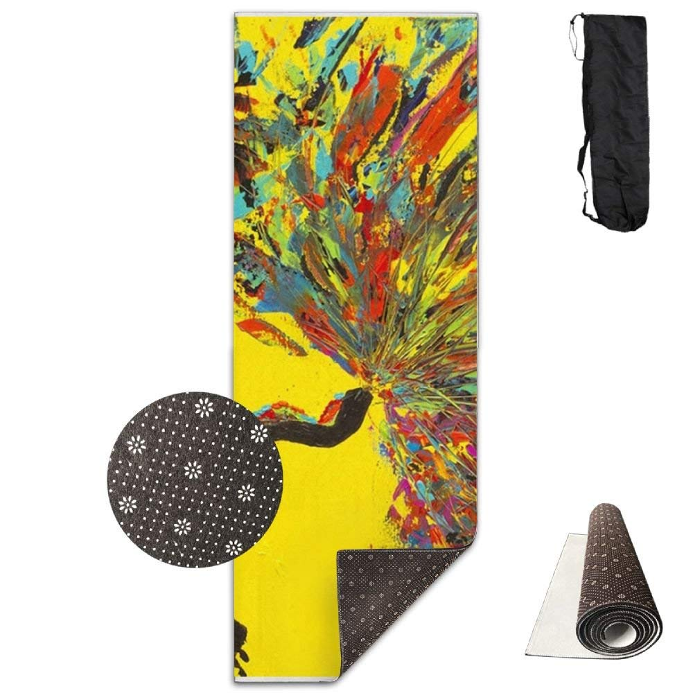 Abstract Colorful Painting Deluxe,Yoga Mat Aerobic Exercise Pilates Anti-slip Gymnastics Mats