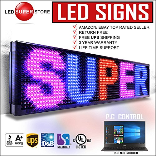 LED SUPER STORE: 3Color/RBP/P30mm/PC - 22''x60'' PC Control, Outdoor Programmable Message Scrolling EMC Signs Display, Reader Board by LED Super Store Corp.