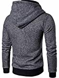 New Ornament Handsome Mens Casual Zipper Hooded Drawstring Sweatshirt Coat Cardigan Dark GrayUS Large