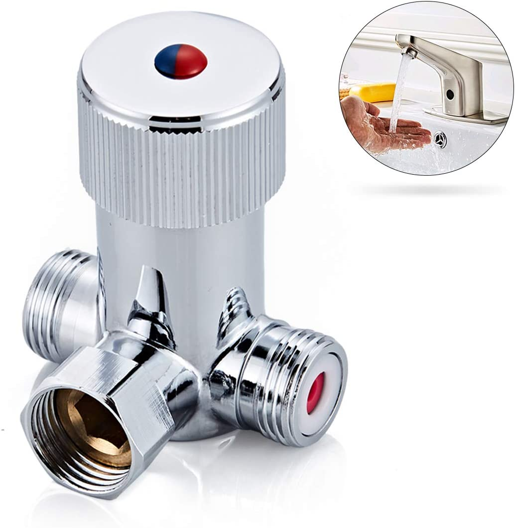Fyeer Faucets Hot and Cold Water Temperature Mixer Mixing Valve for Touchless Sensor Faucet, Polished Chrome