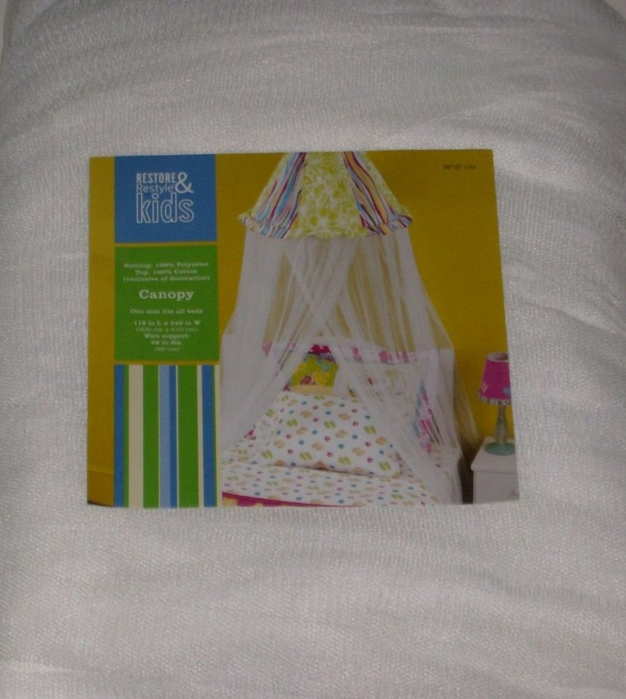 Restore & Restyle Kids White Netting Bed Canopy Rainbow Top Fits Most Beds