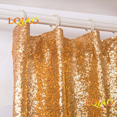 2PCS Gold Sequin Curtain Backdrop- W60xL250cm Shimmer Sequin Fabric Photography Backdrop Luxury Curtains for Bedroom Window Curtains Living Room Elegant Drapes Curtains ¡­