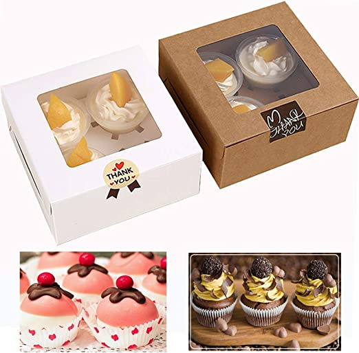 5 x cup cake boxes white /& clear lid-hold 12 cup cakes