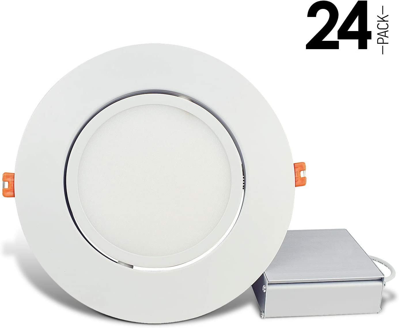 ETL and Energy Star Listed 60W Eqv OSTWIN 6 Inch LED Gimbal Recessed Light with Junction Box 12W Daylight Dimmable Thin Adjustable LED Recessed Light 780lm Pack of 4 5000K