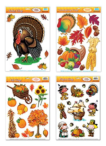 Thanksgiving Window Cling Decorations - 4 Large Sheet Sets Featuring Turkeys, Pilgrims, Leaves, Pumpkins, Cornucopia and Other Fall Themes