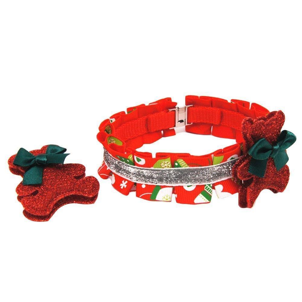 CHINA UK 1set dog Collar Cute Hairpin Pet Collar Card With Christmas Series Pet Collar Dog Neck Flower Collar