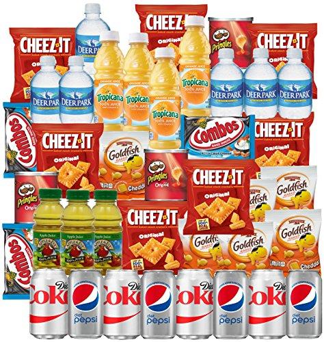 Diet Coke, Diet Pepsi, Bottled Water, Apple Juice, Tropicana Orange, Cheeze-it, Pringles, GoldFish, Combos Snacks and Drinks Refrigerator Restock Kit (Pack of 40)