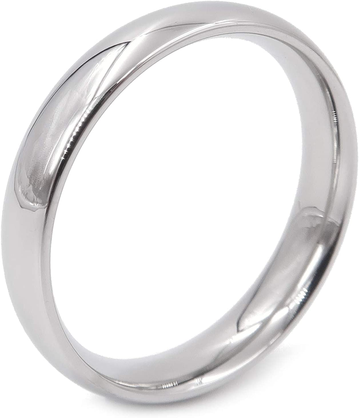 Steelmeup Stainless Steel Comfort Fit Wedding Band Durable Daily Ring Polish Gold/Silver Color 4mm Size 5-13