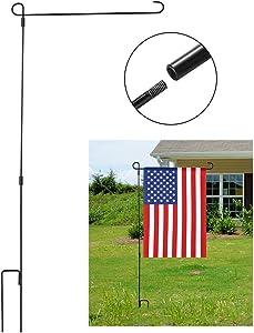 "Jetlifee Garden Flag Stand - by U.S. Veterans Owned Biz. Premium Garden Flag Pole Holder Metal Powder-Coated Weather-Proof Paint - 36.22"" H x 16.53"" W"