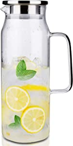 Glass Pitcher with Lid and Handle, 50 oz/1500ml Water Pitcher, Pitcher for Ice Tea and Homemade Juice, Heat Resistant Borosilicate Glass Carafe for Hot/Cold Water.