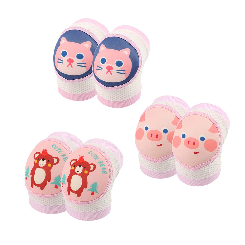 JooNeng Baby Toddler 3-Pack Soft Knee Pads for Crawling Walking Leg Elbow Protector,Pink Sets by JooNeng