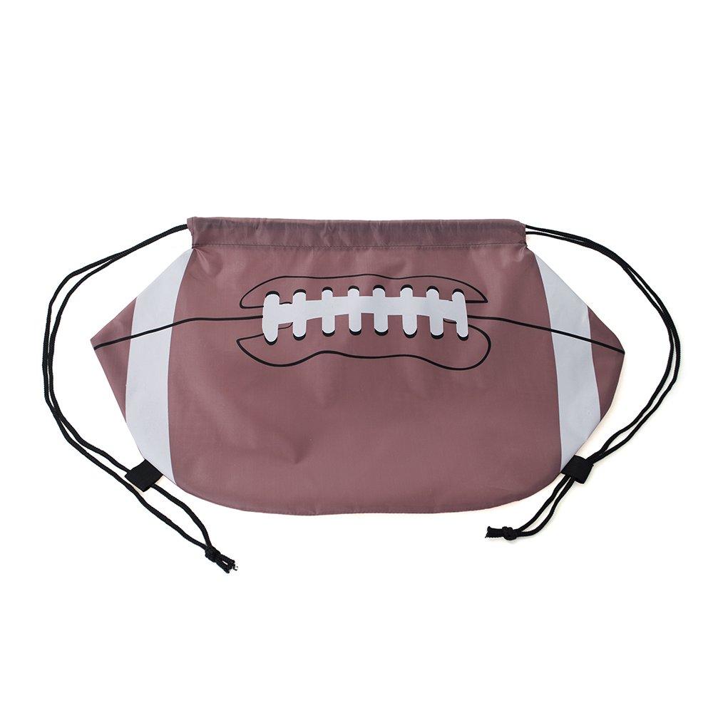 Opromo Basketball/Football/Softball 210D Polyester Drawstring Backpack Cinch Bag-American Football-100 Pack
