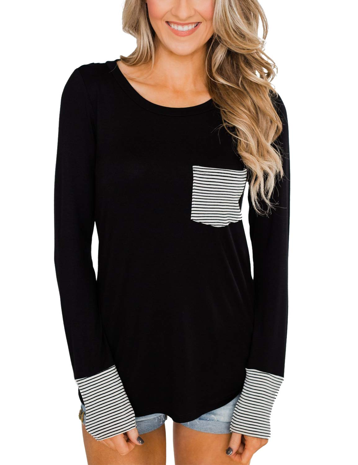 BMJL Women's Casual Crew Neck Blouse Striped Color Block Shirt with Pocket Black