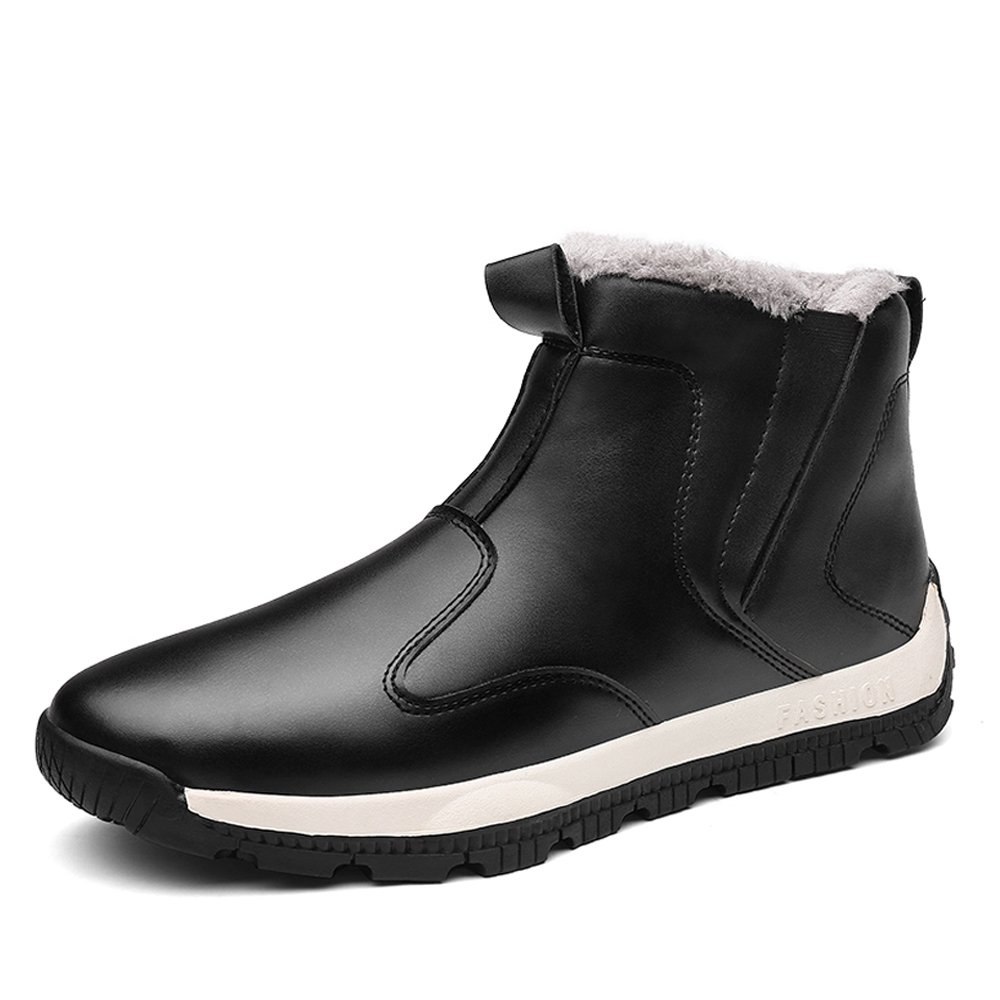 Fung-wong Men's Waterproof Leather Snow Boots Winter Outdoor Shoes