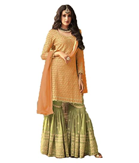 4af5a2a64 JIVA Heavy Georgette Women Embroidered Semi-stitched Sarara Style Salwar  Suit In Orange Colour  Amazon.in  Clothing   Accessories