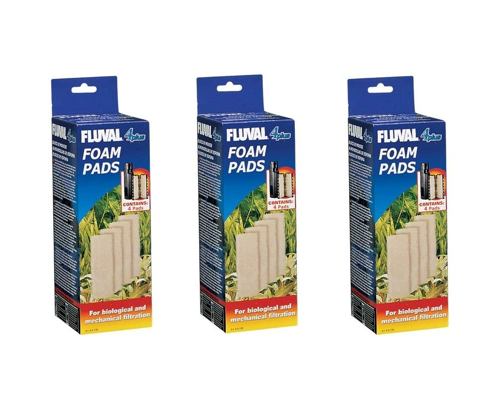 Fluval 4 Plus Foam Insert, 12-Pack (3 Packages with 4 Inserts Each)