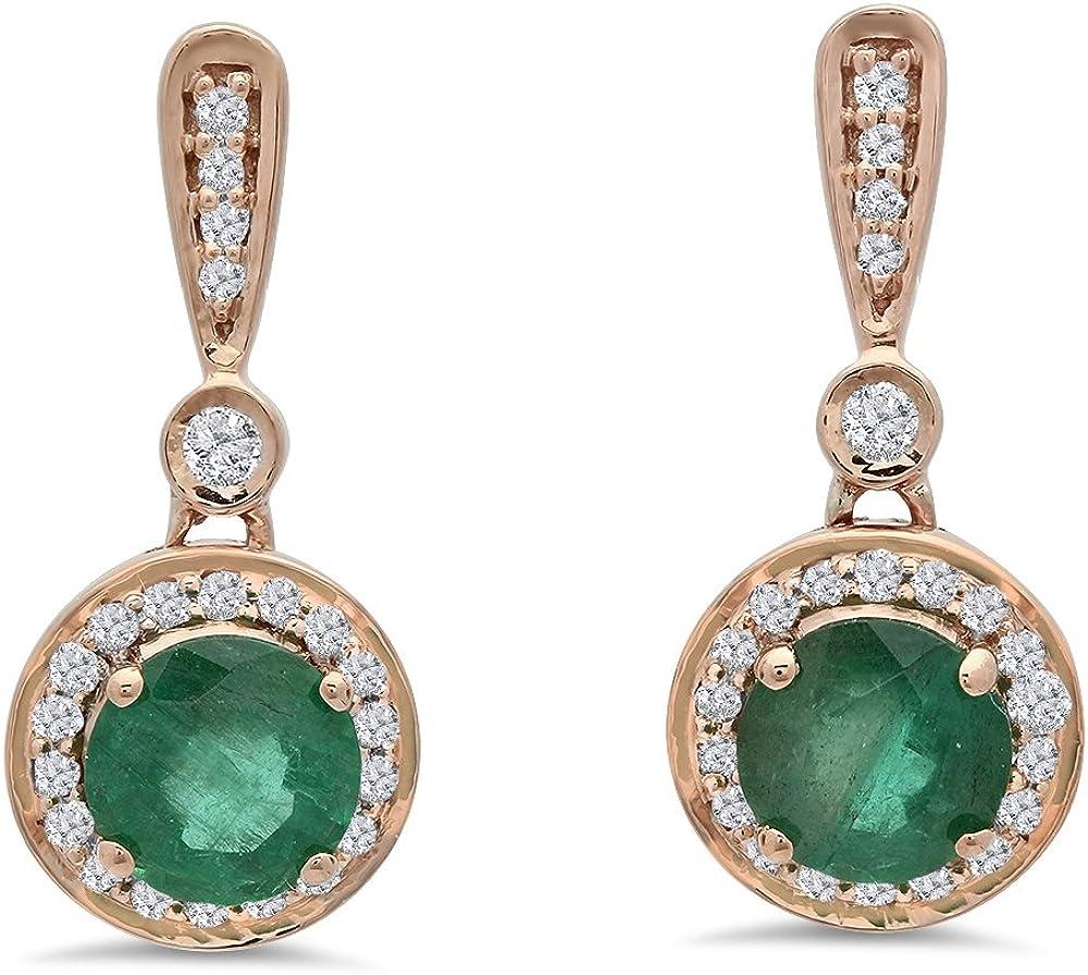 14K oro rosa redondo verde esmeralda blanco y diamante, de Halo estilo pendientes de gota colgando
