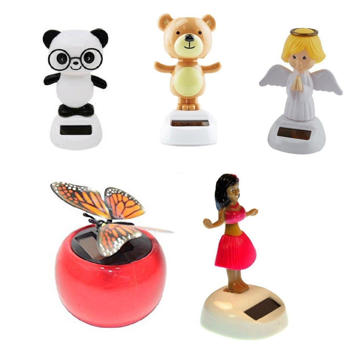 Mstechcorp Solar Powered Swinging Panda, Swinging Monkey, Angel, Butterfly, Red Hula Girl Set Kids Toys For Cars, Novelty, Birthday Gifts, Dashboard
