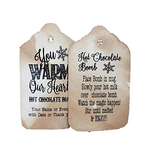 my MEDIUM tag 1 3//8 x 2 1//2 Hot Cocoa Mix Hot Chocolate Bomb with Directions Personalized CardStock Favor Tag sets of 25 Tags