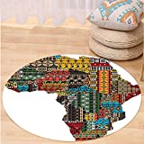 VROSELV Custom carpetAfrican Decorations Collection Africa Map with Countries Made of Architectural Feature Popular Ancient Continent Art Bedroom Living Room Dorm Multi Round 79 inches