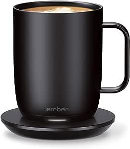 New Ember Temperature-Control Smart Mug 2, 284 ml, Black, 1.5-hr Battery Life – App-Controlled Heated Coffee Mug – Improved Design