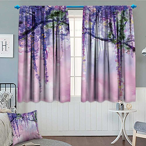 lacencn Watercolor Flower Decor Collection Patterned Drape For Glass Door Wisteria Flowers Tree Blurred Design Waterproof Window Curtain 52