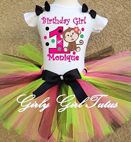 Baby Girl Monkey 1st Birthday Outfit Tutu Set